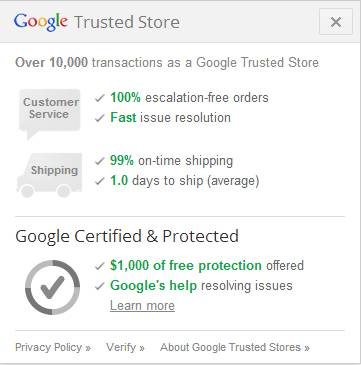Google trusted store pop up